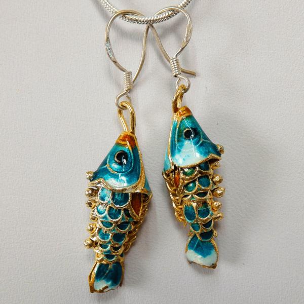 cloisonne-fish-green_white-enamel-sterling_silver-french_wire_earrings