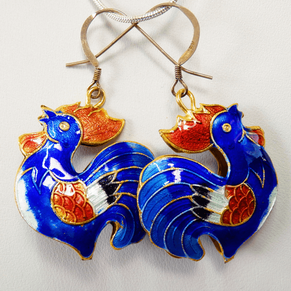 cloisonne-rooster-blue-white-copper-enamel-sterling_silver-french_wire_earrings
