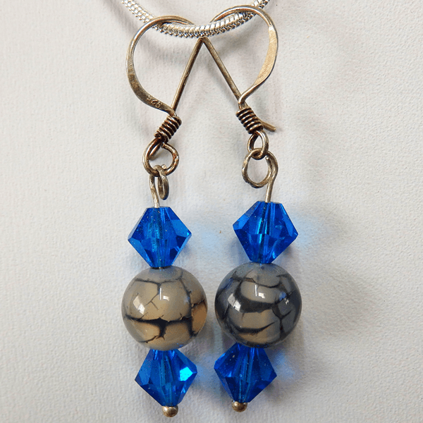 dragon_vein_agate-swarovski_crystal-sterling_silver-french_wire-earrings