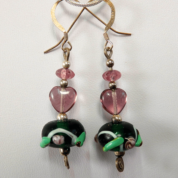 lavender_glass_heart_rondell-beads-with_lampwork_glass_dark_green-beads-sterling_silver-french_wire-earrings