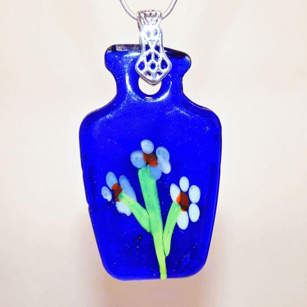 Deep Blue Fused Glass White Flower Vase Pendant