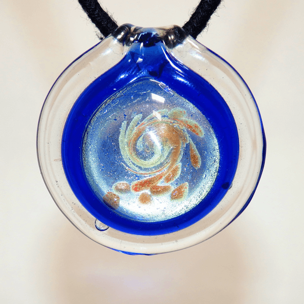 Clear, Blue and Silver Lamp Glass Pendant
