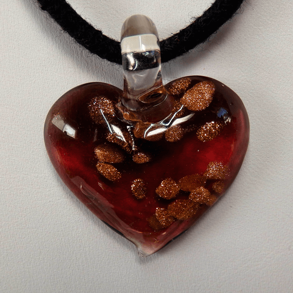 Burgundy, Brown and Gold Lamp Glass Heart Pendant
