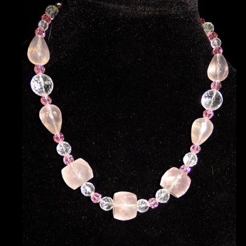 Rose-quartz-and-Swarovski-beaded-necklace