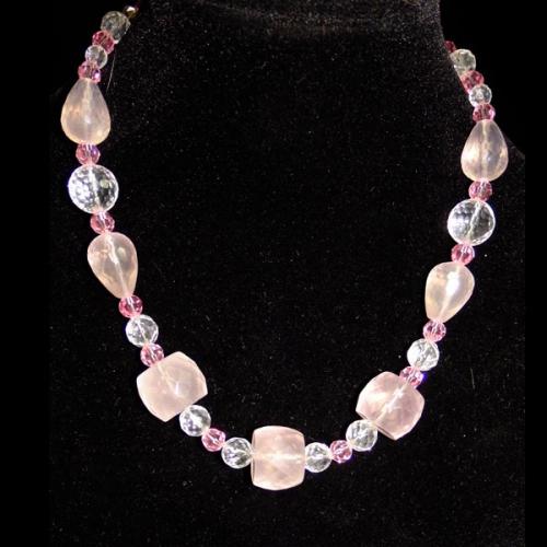Rose-quartz-and-Swarovski-beaded-necklace